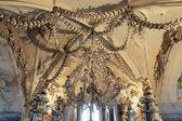 Chandelier made of bones and skulls in Sedlec ossuary — Stock Photo