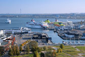 View of the Tallinn port and ferry boats — Stock Photo