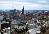 View of Hamburg and St. Nicholas church, Germany — Stock Photo