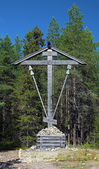 Wooden Cross on Bolshoy Solovetsky Island, Russia — Stock Photo
