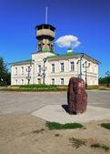 Museum of Tomsk history and memorial stone, Russia — Stock Photo