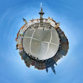 Spherical panorama of the central square of Ceske Budejovice — Stock Photo