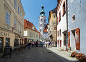 Latran neighborhood and St. Jost Church in Cesky Krumlov — Stock Photo