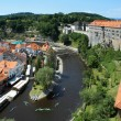 Cesky Krumlov Castle, Old Town and rafting on Vltava river — Stock Photo