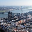 View from Cologne Cathedral on Old Town and Rhine river, Germany — Stock Photo #16030389