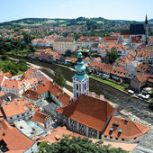 View of Cesky Krumlov, St. Jost Church and St. Vitus cathedral — Stock Photo