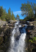 Waterfall on Risjok river in Khibiny Mountains, Kola Peninsula — Stock Photo