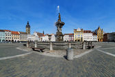 Fountain Samson on the central square of Ceske Budejovice — Stock Photo