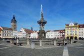 Fountain Samson on the central square of Ceske Budejovice — Stock Photo