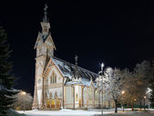 Kajaani Church in winter night, Finland — Stock Photo