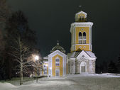 Kerimaki Church in winter night, Finland — Stock Photo