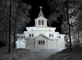 Gallivare church in winter night, Sweden — Stock Photo
