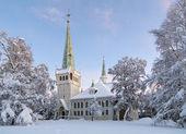 новая церковь jokkmokk зимой, швеция — Стоковое фото