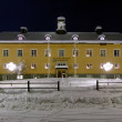 Storuman municipality building in winter night, Sweden — Stock Photo