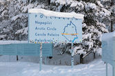 Information board about the Arctic Circle, Jokkmokk, Sweden — Stock Photo