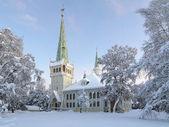 Jokkmokk nueva iglesia en invierno, suecia — Foto de Stock