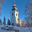 Vilhelmina Church in winter, Sweden - Stock Photo