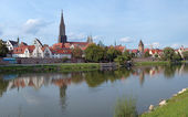 View on Danube River and Ulm Minster, Germany — Stock Photo