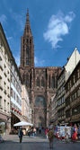 View on Strasbourg Cathedral from Rue Merciere, France — Stock Photo