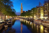Evening view on the Western church in Amsterdam — Foto de Stock