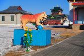Sculpture du tigre bouddhiste — Photo