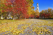 Autumn Landscape with a bell tower — Stock Photo