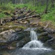Small waterfall on Katayka river, Northern Ural Mountains — Stock Photo #33795567