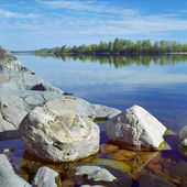 Stones at the shore of Ladoga Lake — Stock Photo