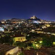 View from the Acropolis to night Athens — Stock Photo