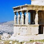 pórtico de cariátides do erechtheum na Acrópole, Atenas — Fotografia Stock  #33950253