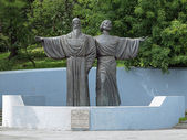 Monument of Athanasius and Theodosius of Cherepovets, Russia — ストック写真