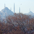 View of the Suleymaniye Mosque in the haze, Istanbul — Stock Photo