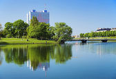 Building on the shore of the pond in Koenigsberg — Stock Photo