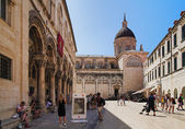 Dubrovnik old town and Assumption Cathedral — Stock Photo