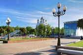 Victory Square and Cathedral in Kaliningrad — Stock Photo