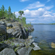 Stony shore of Ladoga lake — 图库照片