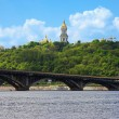 View of the Kiev-Pechersk Lavra and metro bridge in Kiev — Stock Photo