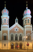 Great Synagogue in Plzen at night, Czech Republic — Stock Photo