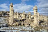 Stone columns in Gorcelid Valley in Cappadocia, Turkey — Stock Photo