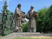 Monument of Saints Cyril and Methodius in Mukacheve, Ukraine — Stock fotografie