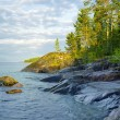 Stony shore of Ladoga lake — Stock Photo