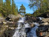 Waterfall on Risjok river in Khibiny Mountains, Kola Peninsula — Stock Photo
