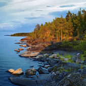 Evening at stony shore of Ladoga lake — Stock Photo