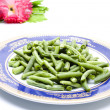 Fresh String beans on Plate — Stock Photo