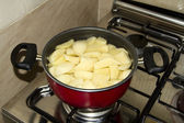 Cooking Potatoes in Cooking Pot — Stock Photo