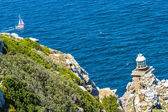 Lighthouse at Cape Town city Cape of Hope pathway — Stock Photo