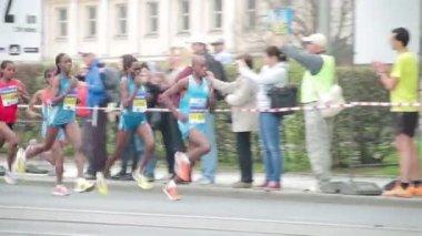 People running at half Marathon event — Stockvideo