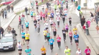People running at half Marathon event — Stock Video