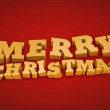 Golden Merry Christmas text on a red background — 图库照片