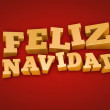 Golden Feliz Navidad (Merry Christmas in spanish)  text on a red background — Stock fotografie